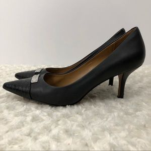Coach ZAN black leather pump faux snakeskin tips 9